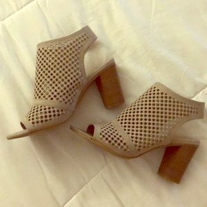 Taupe open toe/heel booties with laser cut design